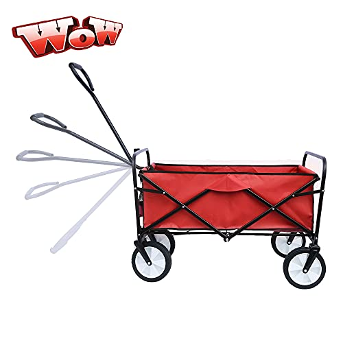 TOEIGEYNR Best Folding Wagon Cart,More Durable Portable Large Capacity Beach Wagon,Heavy Duty Utility Collapsible Wagon,Outdoor Garden Cart for Sports Shopping, Camping,Weight Capacity 150bls (Red)