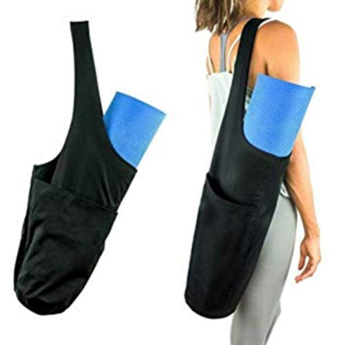 Vssictor Bolsa para Esterilla de Yoga con Bolsillo Lateral Grande y Bolsillo con Cremallera, Lona de Moda, Ajuste Ligero, la mayoría de Las esteras de tamaño