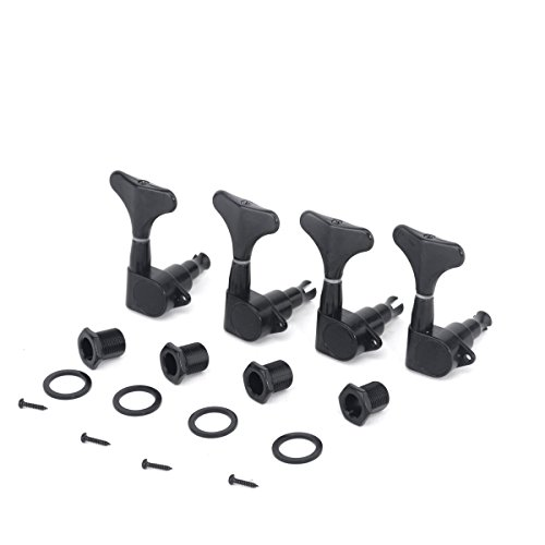 Musiclily Pro 4-in-Line Sealed Mechaniken-Set für 4-Saiter E-Bass Precision Jazz Bass, Schwarz