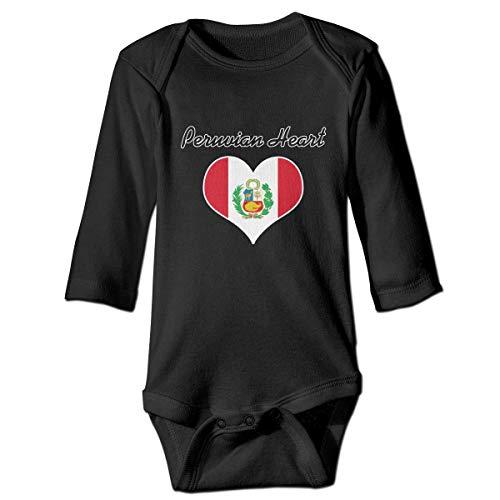 Body de manga larga con diseño de corazón de la bandera peruana para recién nacido