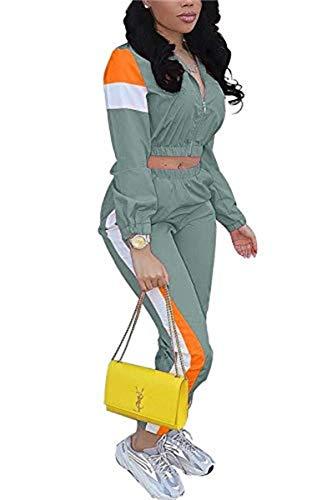 Women Colorblock 2 Piece Tracksuit Sets Long Sleeve High Waist Pants Sets Colour Sweatsuit Teal X-Large Size 8-10