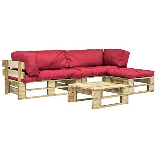 UnfadeMemory Sofa Palets Exterior con Mesa de Centro y Cojines,Sofá de Jardín,Sofás de Interior,Respaldo Extraíbles,Rústico,Sofás 220x126x65cm,Madera FSC (Rojo y Verde)