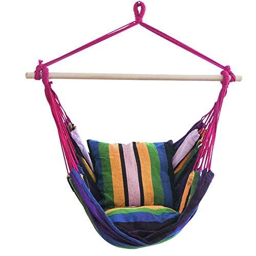 DQLLVV-MJ Outdoor Regenboog Hangstoel Hangende Touw Stoel Veranda Swing Seat Patio Camping Draagbare Grote Hangmatten voor Yard, Slaapkamer, Veranda, In/Outdoor