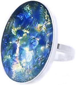 Aurora Boreal la Colección, Ópalo de Fuego, el Oro Azul, Cristal, Plata Esterlina 925 Oval Anillo Clásico, Tamaño 15, NOS 7.5, hechos a Mano BohemStyle