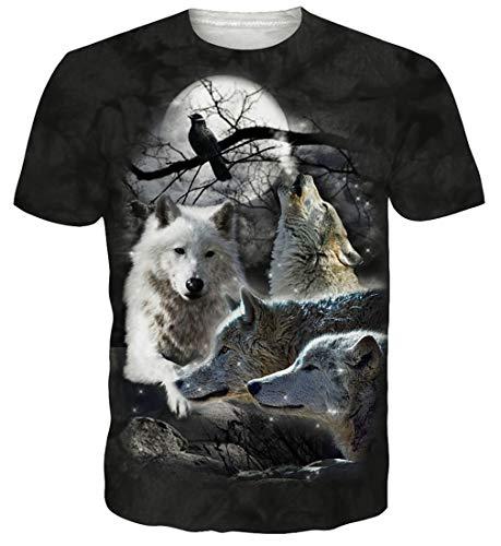 Spreadhoodie Herren T Shirt Kurzarm 3D Wolf Casual Sommer Grafik Lustige Rundhals Tops T Shirt L