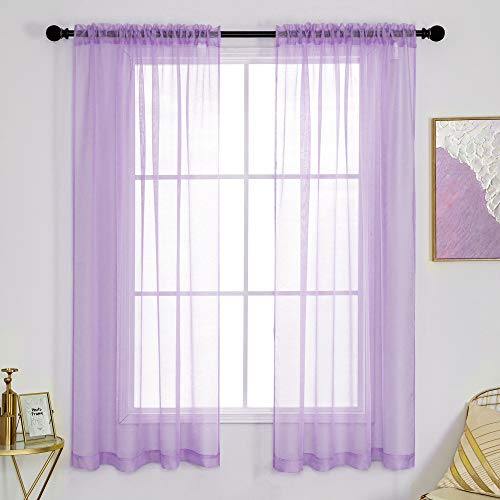 DUALIFE Sheer Lavender Purple Curtains for Girls Room 2 Panels Light Purple Voile Sheer Window Drapes with Rod Pocket Textured Curtains for Living Room 52 x 63 Inch Length