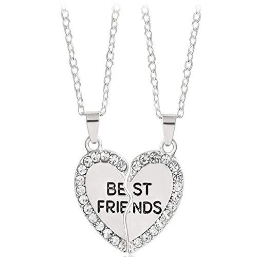 2pcs Mejor Amigo para Siempre Collar de la Forma del Kit del Rhinestone BFF Collar Colgante de corazón Creativo Amistad Puzzle Collar de la joyería por Amigos (Plata)
