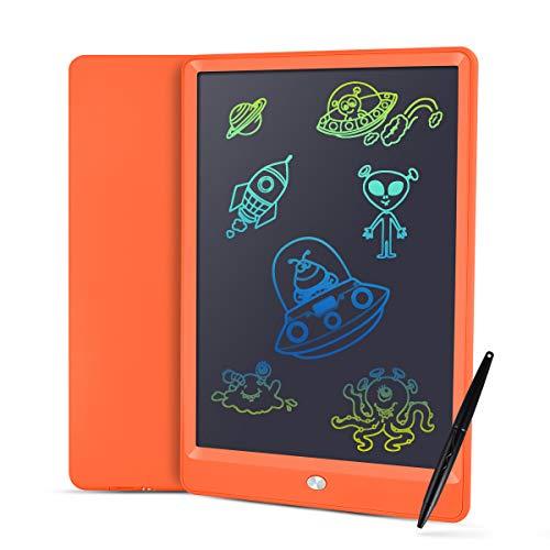Pizarra LCD de escritura para tablet de 10 pulgadas con letras más claras, función antiaclaramiento y líneas gruesas, lápiz sin papel para escribir notas, ideal como regalo (naranja)
