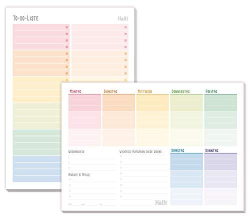 2er Set: A5 TO DO Listen Block & Wochenplaner von Trendstuff by Häfft [Rainbow] | 2 x 50 Seiten - inkl. Platz für Notizen auf Vorder- und Rückseite!