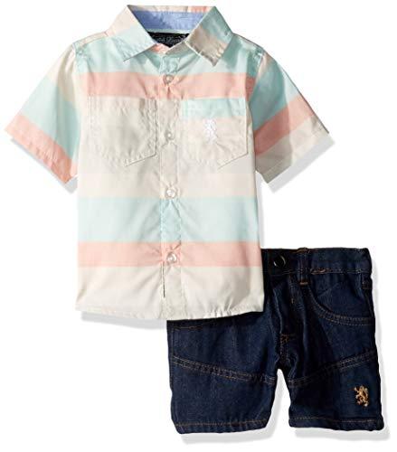 English Laundry - Conjunto de Playera Deportiva y pantalón Corto de Mezclilla para niño (2 Piezas), Multi Plaid, 18 Meses