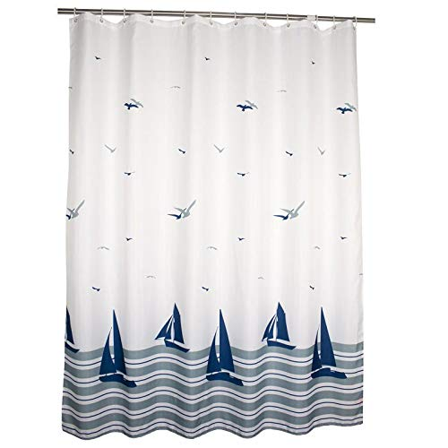 """Fabric Shower Curtain with Hooks, Water Repellent, Machine Washable, Decorative Curtains for Bathroom Hotel Quality (Sailboat, 72"""" W x 78"""" H)"""
