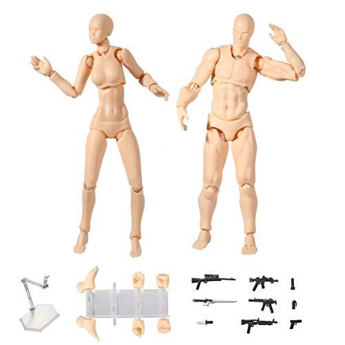 Niikee Zeichenpuppen, Body Kun Actionfiguren Modell bewegliche Gelenke Figuarts mit verschiedenen Gesten, Modellständer, lustiges Zubehör-Kit