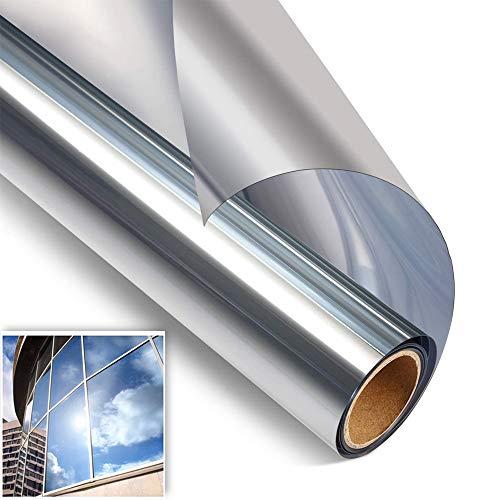 N/V Spiegelfolie Selbstklebend Fensterfoli Sichtschutzfolie Sonnenschutzfolie Schutzfolie Anti-UV Reflektierende UV-Schutz Fensterfolie Silber(40 x 200 cm)