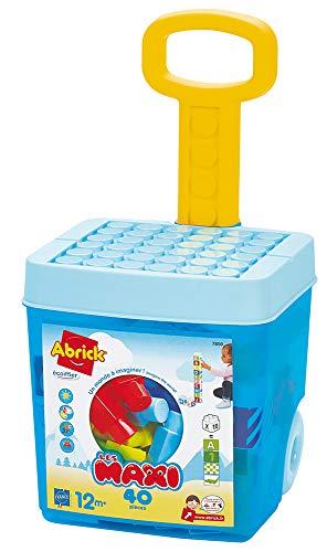 Jouets Ecoiffier -7800 - Valise à roulettes + briques à empiler Abrick Maxi – Jeu de construction pour enfants – Dès 12 mois – Fabriqué en France