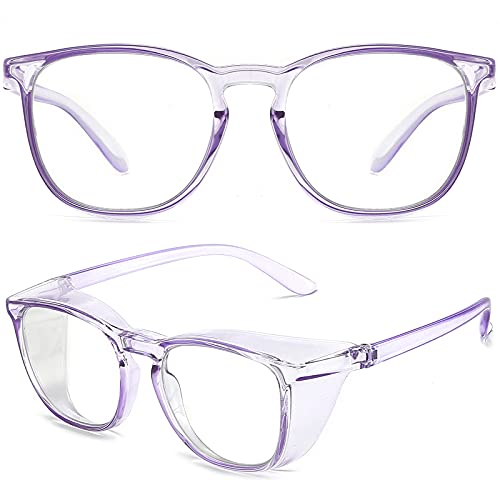 Anti Fog Safety Glasses Goggles for Women Safety Goggles Blue Light Blocking Eye Protection Glasses Stylish Goggles Clear Purple