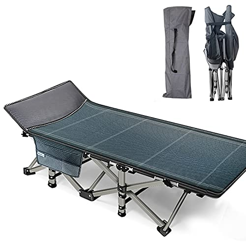Oeyal Camping Cot Folding Camping Bed for Adults, Heavy Duty Collapsible Sleeping Bed, Travel Military Portable Cots Bed with Carry Bag for Indoor & Outdoor Use (Blue Grey)