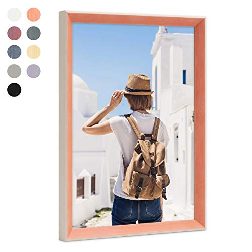 PHOTOLINI Bilderrahmen Orange 20x30 cm Landhaus-Stil Mediterran | Massivholz-Rahmen mit Echtglasscheibe | Holz-Bilderrahmen Maritimer Stil