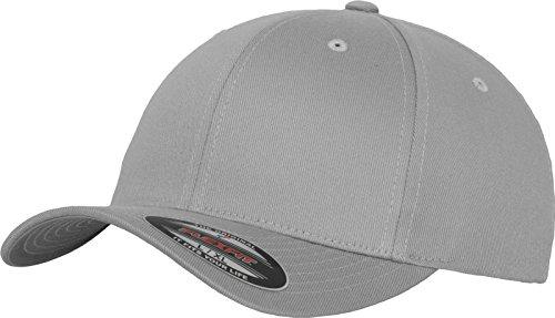 Flexfit Unisex Baseball Cap Wooly Combed, Kappe ohne Verschluss für Herren, Damen und Kinder, Farbe silver, Größe XXL