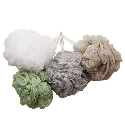 Esponja para ducha, paquete de 4 (50 g/pc), puf, esponjas de malla, bola de ducha, baño de malla y esponja de ducha