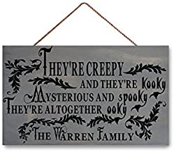 Wood Sign Halloween Sign, They're Creepy Spooky Halloween Decorations, Personalized Family, The Addams Adams Family Sign, 7.25 x 12 Inches.