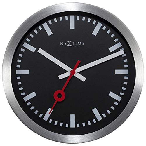 NeXtime Wall Clock/Table Clock Station Clock Station, Very Silent, Round, Black, ø 19 cm