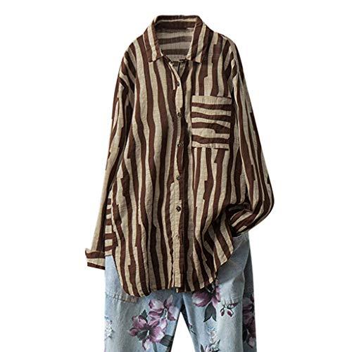 Malloom-Bekleidung Frauen beiläufige lose Baumwolle und Leinen volle Hülsen-gestreifte Knopf-Blusen-Oberseiten Langärmliges Oberteil mit Knopfleiste aus Baumwolle und Leinen