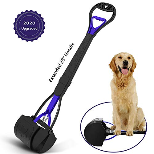 KEEOU 28'' Long Handle Pet Pooper Scooper for Dogs, [No Bending-Over Design] Unbreakable High...