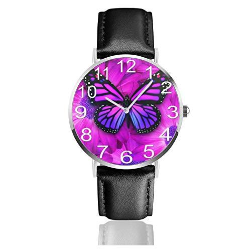 Reloj de Pulsera Flor de Mariposa púrpura Durable PU Correa de Cuero Relojes de Negocios de Cuarzo Reloj de Pulsera Informal Unisex