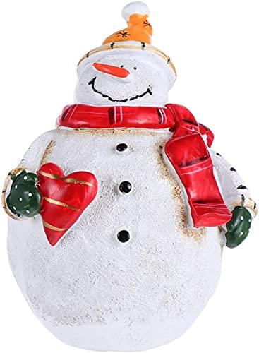 Estatueta de boneco de neve de Natal Resina Enfeites em miniatura Globo de neve escultura de artesanato para o jardim de fadas Casa de bonecas Decoração de mesa de férias