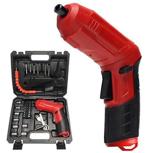 Destornillador inalámbrico recargable, juego de puntas de destornillador giratorio 47 en 1, taladro eléctrico con luz LED