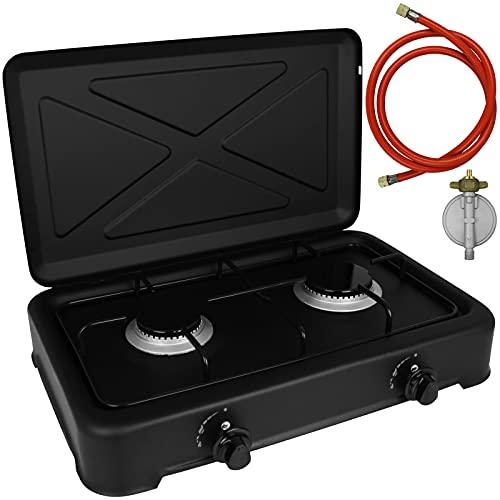 Hornillo de gas Duo con conector, hornillo de camping, 2 fuegos, cocina de gas, portátil, manguera de gas
