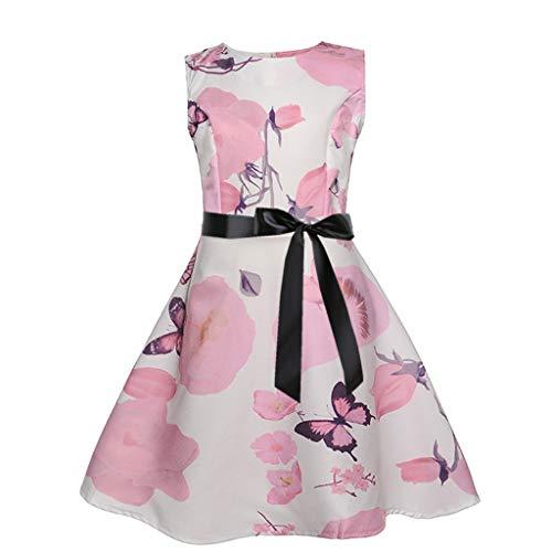Frashing Mädchen ärmelloses Vintage Rockabilly Kleid Blumendruck Swing Party Kleider Mädchen Party Kleid Retro 50er Jahre Mini Kleider Elegante Prinzessin Geschenk für Kinder 3-12 Jahre
