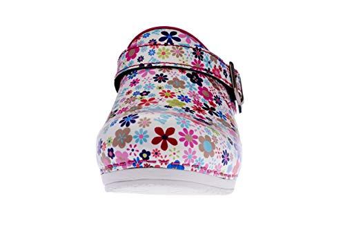 Sanita Little Flower | Zuecos Abiertos | Producto Artesanal Original para Mujer | Plantilla de Forma anatómica con Espuma Blanda | Correa de talón Ajustable | Rosa | 39 EU