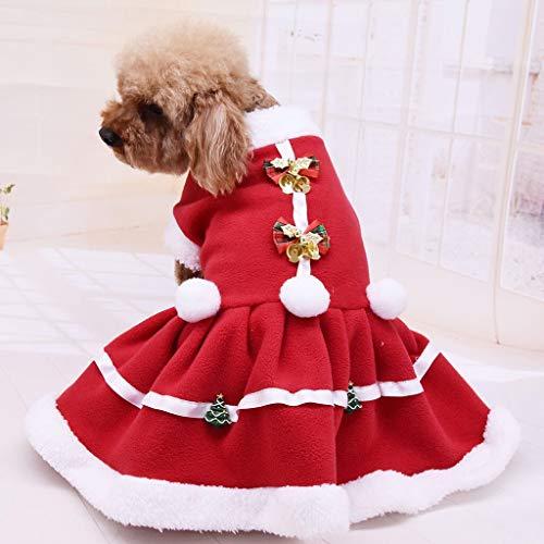 TWGDH Navidad Ropa for Perros Mascotas Vestido de Perro sólido de Color Escudo de Navidad con Capucha Chaleco Mascotas Gato Caliente del Perrito de Abrigos Chaquetas FW3 (Color : Natural, Size : L)
