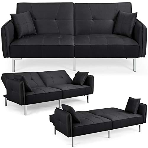 Yaheetech Fabric Sofa Bed 3 Seater Click Clack Sofa Couch Recliner Settee for Living Room/Bedroom with Arms&2 Cushions Black