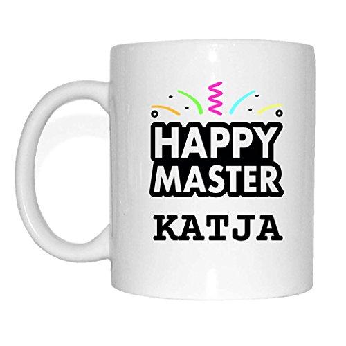 JOllify Tasse Abschluss Geschenk für KATJA Becher Mug MD5555 - Farbe: weiss - Happy Master