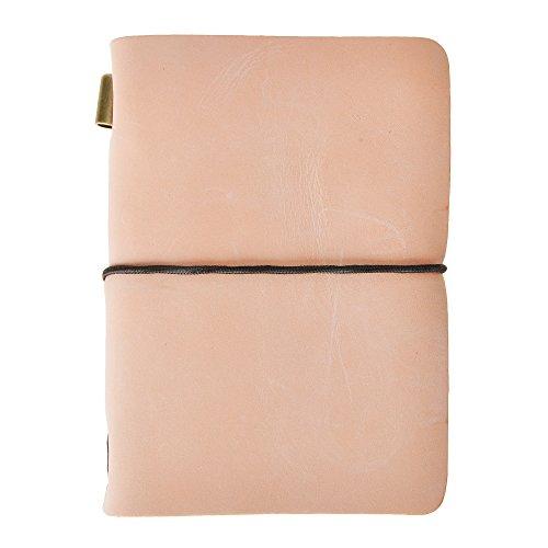ZLYC Cuaderno de notas de cuero rellenable, hecho a mano, tamaño pasaporte, diario de viajeros, diario de viajeros (naranja)