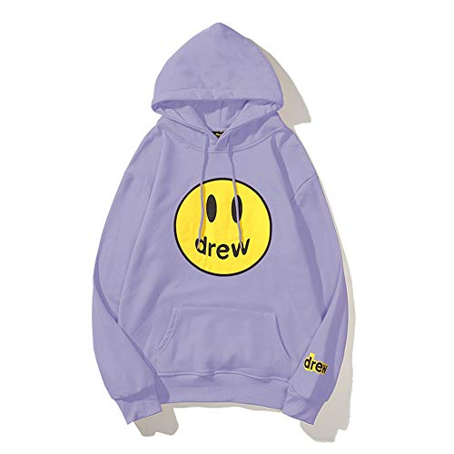 2020 Hip-Hop House Smiley Face Printing Couple Loose Hooded Street Fashion Sweater Autumn Winter Purple