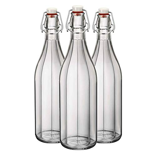 Bormioli Rocco Oxford Clear Wine Water Table Serving Swing Top Bottle - 1000ml - Pack of 3