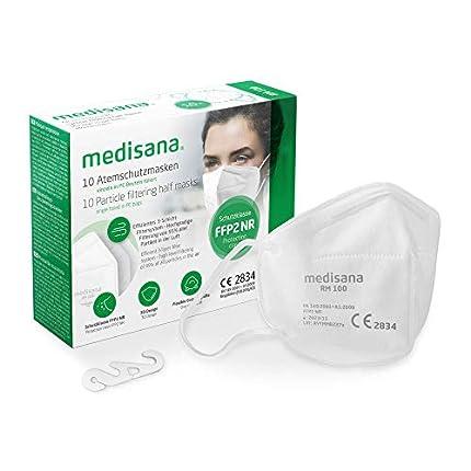 medisana FFP2 Máscara de protección, RM 100, máscara respiratoria, contra el polvo, 10 piezas empaquetadas individualmente en bolsa de PE con clip - certificado CE2834 - UE 2016/425