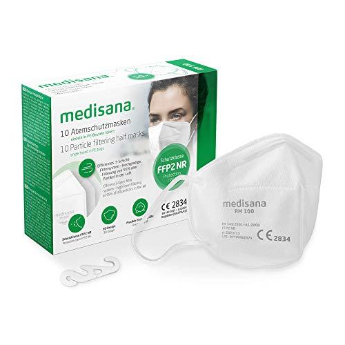 Medisana FFP2 Atemschutzmaske Staubmaske Atemmaske, RM 100, Staubschutzmaske Mundschutzmaske 10 Stück einzelverpackt im PE-Beutel mit Clip - zertifiziert CE2834 - EU 2016/425