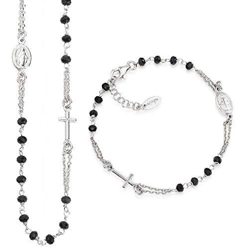 Collana bracciale rosario donna uomo ARGENTO girocollo AMEN CROBN3 BROBN3
