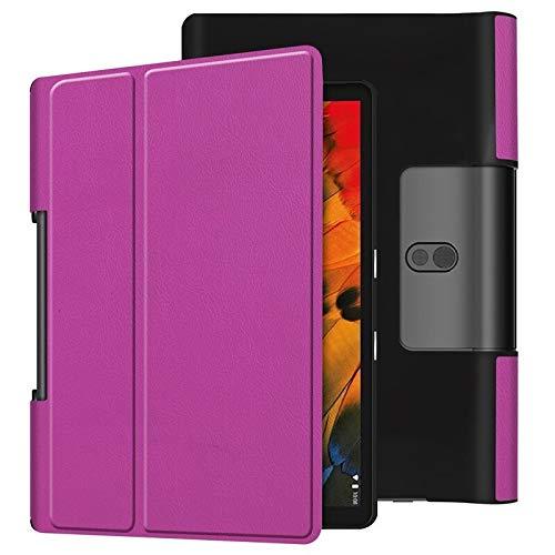 HHF Pad Accesorios para Lenovo Yoga Smart Tab 10.1, Tablet Pliegue Soporte Slot Slot String Poil Leather Tablet Funda para Lenovo Yoga Tab 10.1 Tab 5 YT-X705 YT-X705F TAB5 (Color : KST2 Purple)
