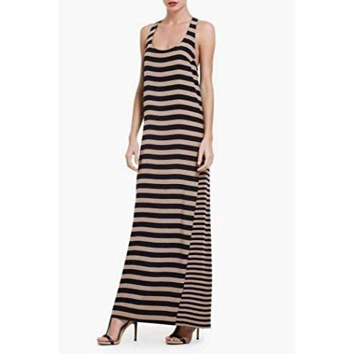 BCBGMAXAZRIA Sara Silk Tank Full Length Striped Silk Dress