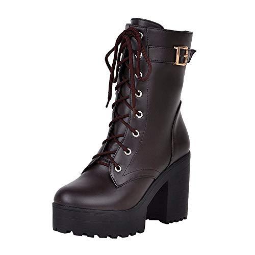 WUSIKY Bootsschuhe Damen Stiefeletten Boots Damen Absatzstiefeletten Absatzstiefeletten Schnürstiefel mit Dicker Unterseite (Braun, 38 EU)