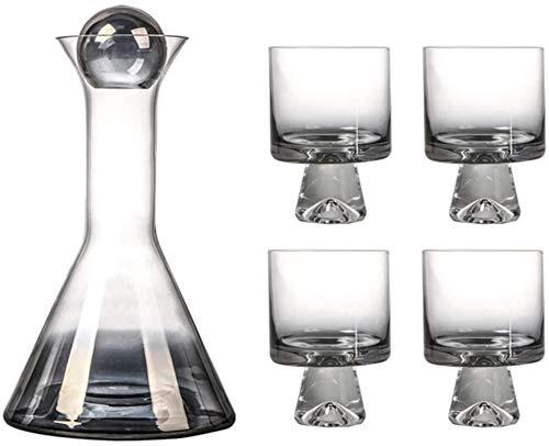 HYJMJJ Jarra de Whisky Conjunto de Vino, tapón y 4 Gafas Creativas Incluidas, Juego de Vino de Glass de Vidrio Brillo Brillante. Regalo de Whisky para Hombres