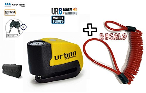 URBAN - Candado de disco UR6 con Alarma 6mm 120dba + REGALO