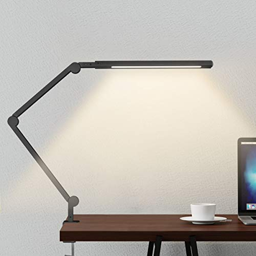 Swing Arm Lamp, LED Desk Lamp with Clamp, 9W Eye-Care Dimmable Light, Timer, Memory, 6 Color Modes, JolyJoy Modern Architect Table Lamp for Task Study...