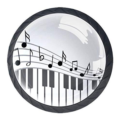 Möbelknopf Kinder Piano Note Musikinstrument Möbelgriffe 4 Stück Schubladenknopf Niedlich Kabinett Knauf Schublade Schrank Kinder Schranktüren Türgriff 3.5×2.8CM