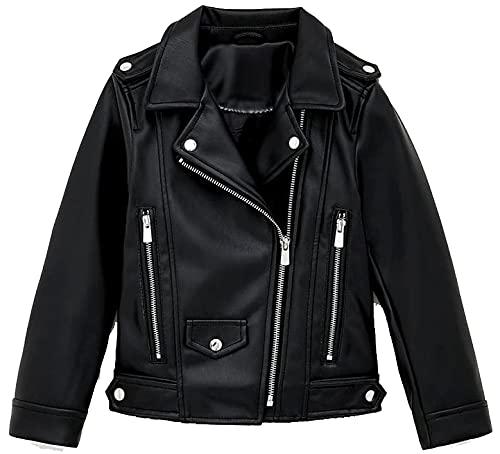 Fashion Hub Chaqueta de piel de cordero auténtica para mujer, color negro